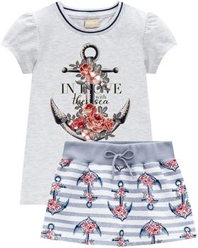 Milon summer girls anchor T-shirt & skort 12823-0467 blue
