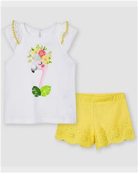 Mayoral girls top & shorts 3217-021 yellow