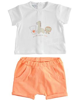 I Do baby boys short sleeve short set 42179-021 orange