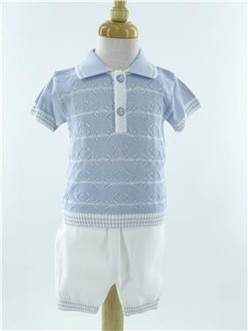 Pretty Originals Boys Top & Short Set JPD2180E BL/WH