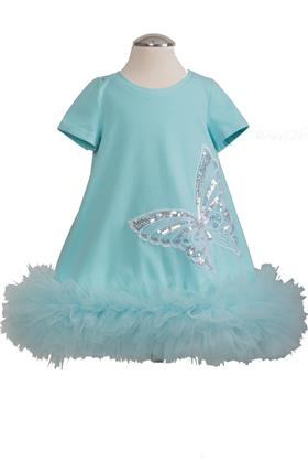 Daga girls ruffle tutu hem dress 8227-021 turq