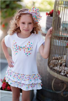 Daga girls summer spot net print dress 8255-021