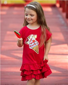 Daga girls red ice cream summer dress 8347-210