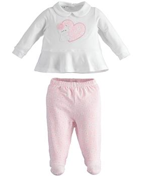 I Do baby girls two piece romper suit with feet 42110-021 white