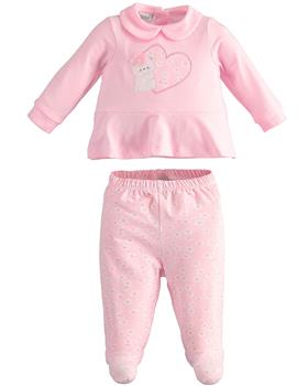 I Do baby girls two piece romper suit with feet 42110-021 pink