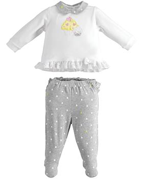 I Do baby girls 2 piece romper suit with feet 42112-021 GR-YEL