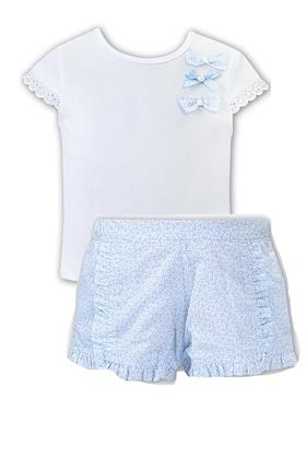 Sarah Louise girls top & shorts d09499-09500 Wh/bl