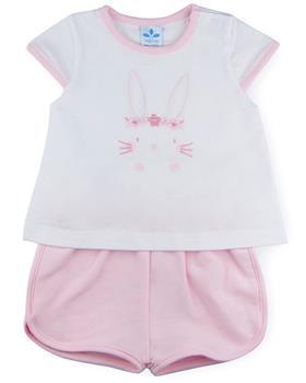 Sardon baby girls rabbit T-shirt & short CO-521-021 pink