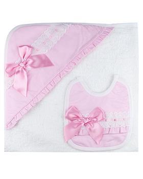 Sardon baby girls towel & bib set HA-319 Pink