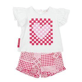 Agatha Ruiz girls heart top & short set 2623-021 coral