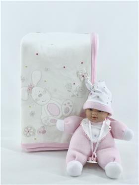 Mintini baby pram blanket N0023 Ivory