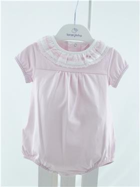 Laranjinha baby girls bubble romper V1004-021 pink