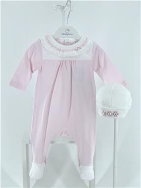 Laranjinha baby girl all in one with frill collar V1003-021 pink