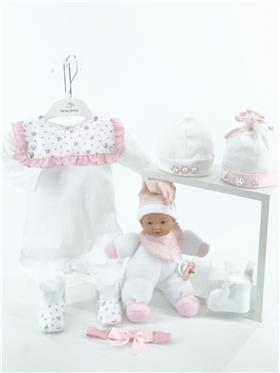 Laranjinha baby girls all in one with floral yoke V1070-021