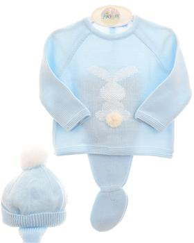 Macilusion baby boys knitted three piece suit 7415-19 blue