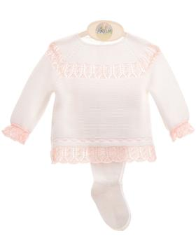 Macilusion baby girls top & footsie 8004-021 wh/pk