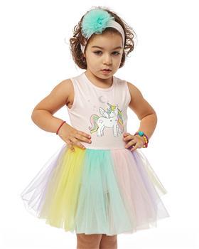 Ebita baby girls rainbow unicorn dress & headband 4523-021
