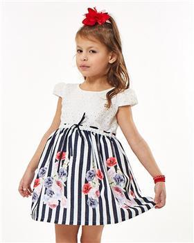 Ebita summer girls navy and white stripe dress 2231-021