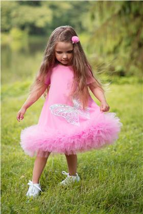 Daga girls ruffle tutu hem dress 8227-021 cerise