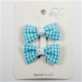 Daga girls blue gingham bow hair clips 21033 blue