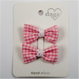 Daga girls pink gingham bow hair clips 21034 pink