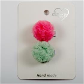 Daga girls pink & green pom pom hair clips 21037