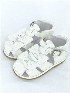 Girls Borboleta Sandals Dina 3201 White Patent
