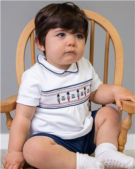 Bluesbaby boys solider top & short set BB0011-021 WH/NVY
