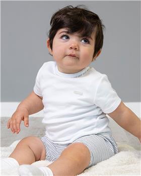 Bluesbaby tshirt & stripe shorts set BB0013-021 Wh/gry