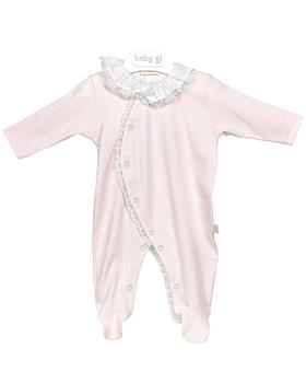 Baby Gi pink cotton babygrow with lace RND53MR pink