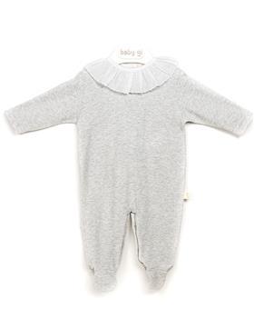 Baby Gi cotton ruffle neck babygrow BGM50BIC grey
