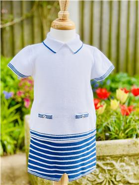 Martin Aranda baby boys knitted top & short 010-10046-021 royal