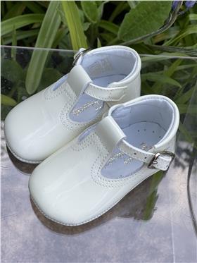 Pretty Originals boys patent leather shoes UE03180 Cream
