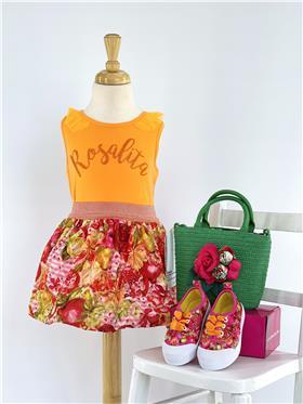 Rosalita girls sleeveless top and skirt Clure 2-3-20 Orange