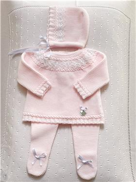 Gavidia baby girls knitted 3 piece outfit 4120-021 pink