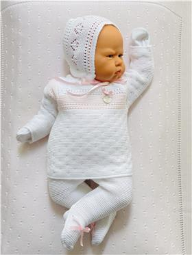 Gavidia baby girls knitted 3 piece outfit 7205-021 pink