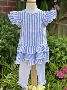 Mintini girls striped top and leggings MB3220 Blue