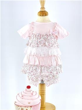 Mintini baby girls top bloomer & headband MB1752-18