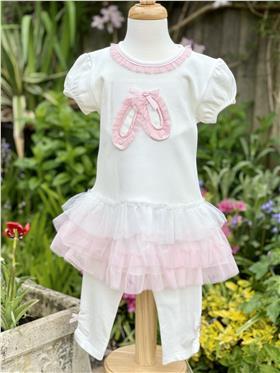 Mintini girls dress and leggings MB3178 Ecru/Pink