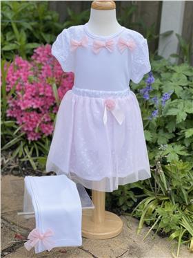 Mintini baby girls top skirt & legging MB1796-18 White