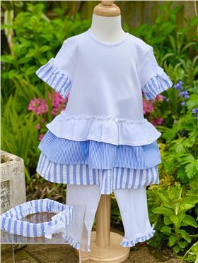Mintini Baby Girls Dress, Legging & Headband MB3221-20 BLUE