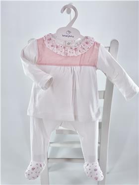 Laranjinha Baby Girls 2 piece V1072-021 WH/PK