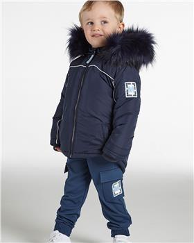 Mitch & Son boys faux fur trim parka coat MS21401 Navy