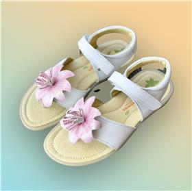 Andanines girls leather sandal 86001 WH-PK