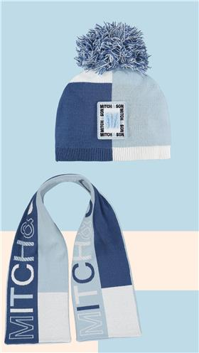 Mitch & Son boys pull on hat & scarf MS21412-413 pale blue Parkgrove