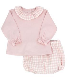 Pink Rapife girls long sleeve checkered short set 5413-121