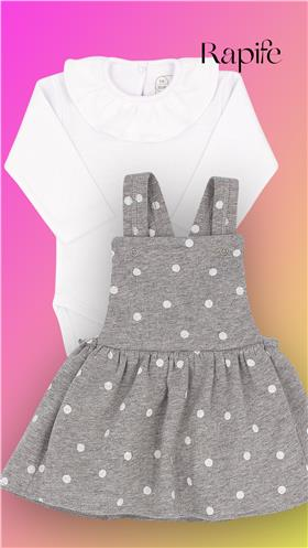 Grey spot Rapife girls ruffle  body & dungaree pinafore 902-5285-121