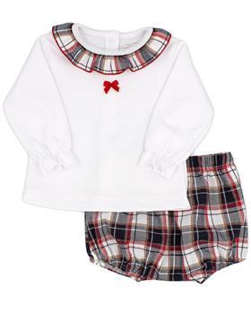 Rapife girls ruffle neck tartan short set 5913-121