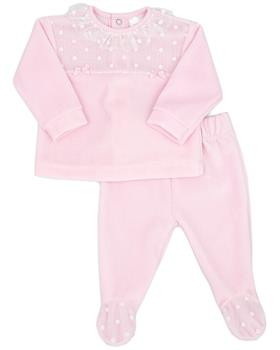 Rapife baby girls 2 piece velour with feet 6032-121 pink