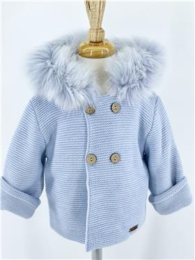 Blue Macilusion baby boys knitted jacket with fur hood 8287-121